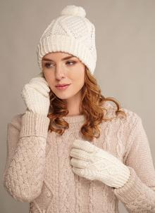 Hand Knit Wool Beanie & Gloves Set