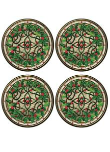 Holly Wreath Coasters Set of 4