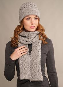 Wool Cashmere Cable Hat & Scarf Set Light Grey