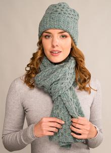 Wool Cashmere Cable Hat & Scarf Set Ocean Mist
