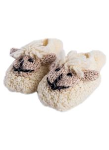Baby Hand-Knit Sheep Booties