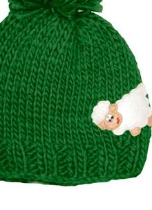 Kid's Knitted Sheep Hat Green