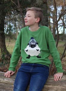 Kid's Knitted Sheep Green Sweater