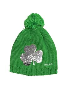 Kids Reversible Sequin Shamrock Knit Hat
