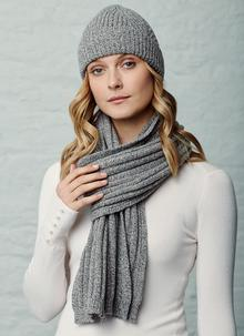 Fisherman Wool Cashmere Ribbed Beanie & Scarf Set