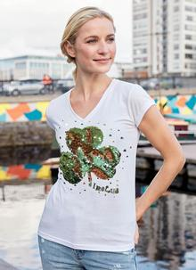 Ladies Reversible Sequin Shamrock V-Neck T-Shirt