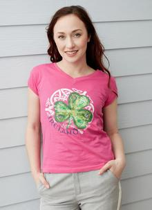 Ladies Ireland Shamrock V-Neck T-Shirt