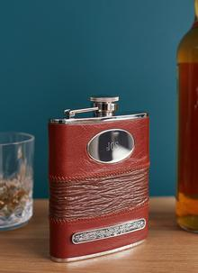 Personalized Leather Bound Hip Flask