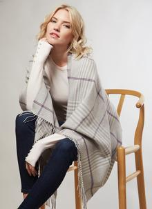 Merino Wool Wrap Grey Check