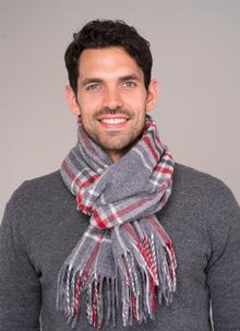 100% Lambswool Scarf Grey Check