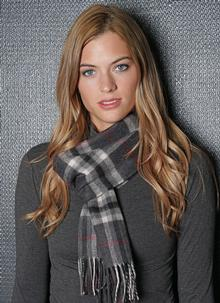 Merino Wool Scarf Charcoal Check