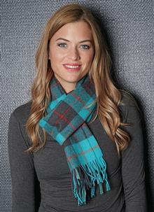 Merino Wool Scarf Turquoise Check