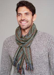 Wool Cashmere Donegal Tweed Green Scarf