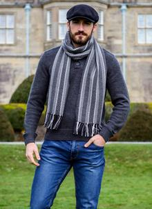 Merino Wool Dingle Scarf Charcoal Stripe