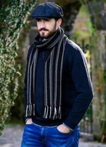 Merino Wool Dingle Scarf Black Stripe