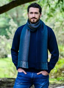 Merino Wool Dingle Scarf Teal Stripe