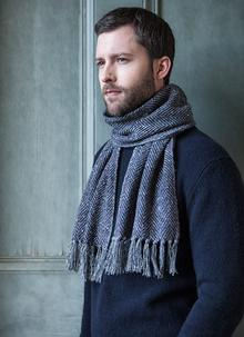 Wool Cashmere Donegal Tweed Charcoal Scarf