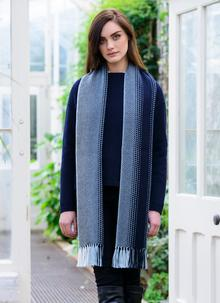 Unisex Merino Wool Dingle Scarf Navy Stripe