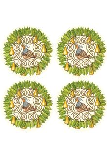 Partridge and Pear Coasters Set of 4
