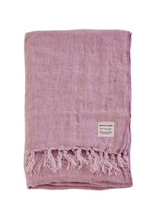 Lilac Fringed Linen Throw