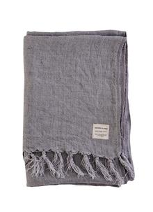 Grey Fringed Linen Throw
