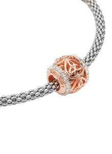 Rose Gold Trinity Heart Bead Adorned With Swarovski Crystals