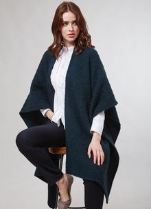 Ruana Cape Hunter Green Herringbone