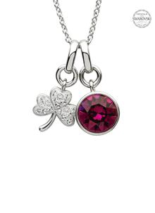 Shamrock Birthstone Charm Pendant Adorned With Swarovski Crystals