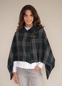 Shawl Collar Cape Hunter Green Check