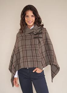 Shawl Collar Cape Olive Check