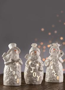 Love Peace & Joy Snowmen Votive Set
