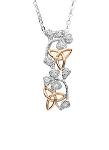Sterling Silver & Irish Rose Gold Trinity Shamrock Pendant