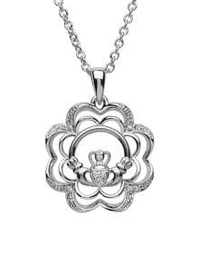 Sterling Silver Stone Set Claddagh Pendant
