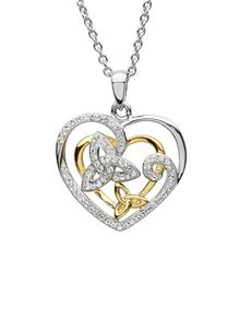 Sterling Silver Trinity Heart Pendant Adorned With Swarovski Crystals