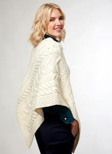 Supersoft Merino Wool Cable Poncho