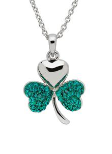 Sterling Silver Shamrock Pendant Embellished With Green Swarovski Crystals