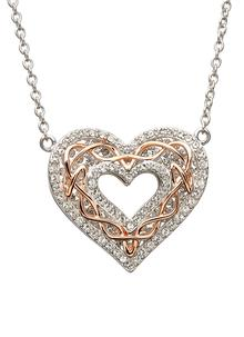 465884bce3be3 Rose Gold Celtic Heart Knot Pendant Encrusted With Swarovski Crystals ...