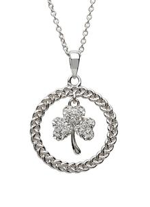 Silver Shamrock & Rope Circle Pendant Encrusted With Swarovski Crystals