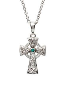 Sterling Silver Celtic Trinity Cross Adorned With White & Green Swarovski Crystals
