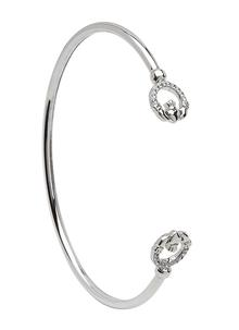 Sterling Silver Claddagh Swarovski Bangle