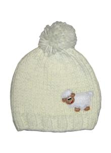 Kid's Knitted Sheep Hat Cream