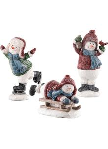 Set Of 3 Snowmen Figurines