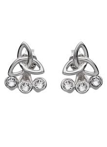 Trinity Front To Back Earrings Adorned With Swarovski Crystals