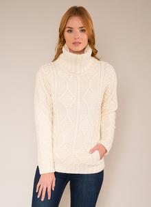 Una Cowl Neck Aran Sweater Natural