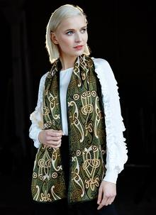 Book of Kells Motif Bottle Green Velour Scarf