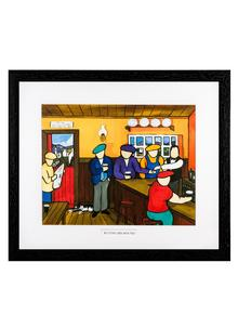 Buying His Round Framed Print