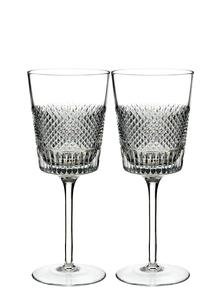 Waterford Crystal Diamond Line Wine Glass Pair