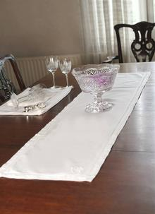 White Shamrock Table Runner
