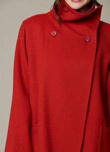 Pure New Wool Funnel Neck Coat
