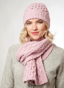Wool Cashmere Cable Hat & Scarf Set Pink Blush